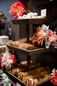 could make something like this with wooden candlesticks and wooden platters pretty, pretty cookie display  Photography by kuperberg.com