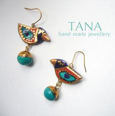 Ceramic earrings  birds multicolore and gold. Boucles by Tanaart