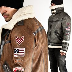 Outerwear - US PATCHWORK ACCENT CRACK LEATHER DOUBLE FACE JACKET - 57 for only 154.00 !!!