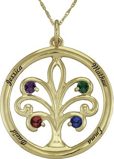 JCPenney FINE JEWELRY Personalized 14K Yellow Gold Family Tree Birthstone Pendant Necklace