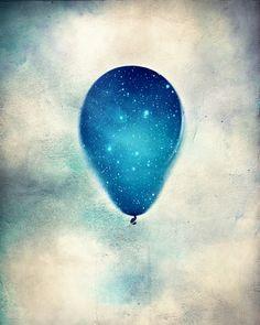 balloon photograph, celestial decor, boy nursery decor, blue art, wall art for kids room, balloon art, fine art photograph