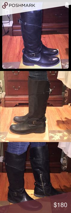 Frye Phillip tall riding boot.  Black size 8 Frye Phillip tall riding boot.  Black size 8.  A gorgeous pair of black leather Frye boots! 😍.  These boots are so versatile and could be worn as a moto boot or even casually or for more of a western look.  Love love love these boots!!   Low heel for all day use and comfort.  Would make a great lifetime pair of boots for someone.  The boots come with the original box.  Very little wear, like new! Frye Shoes Combat & Moto Boots