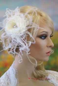 Flower & Feather Hairpiece Wedding Hair Clip