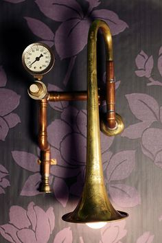 Blow by Blow Wall Light #trumpet #gauge #brass #light #copper pipe