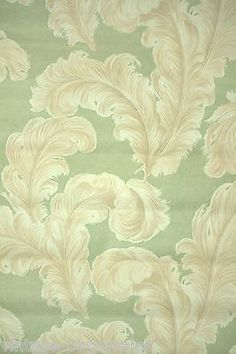 1940s Vintage Wallpaper Feathery Plumes on pretty green