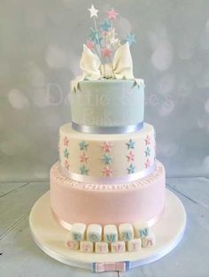 a joint christening cake in baby pink and baby blue