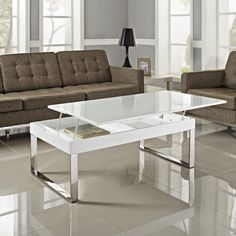 White Glass Lift Top Coffee Table