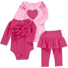 Garanimals Newborn Baby Girls' Lace Ruffle Bodysuit, Raglan Flutter Graphic Bodysuit and Quilted Skeggings 3-Piece Outfit Set - Walmart.com