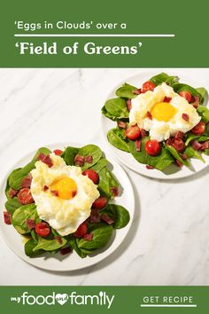 This fun, 15-minute breakfast dish is a great start to special days, or treat for friends and family at a fancier-than-usual brunch! Whip up fluffy egg whites to make the 'cloud', and place it on a flavorful 'field of greens' spiced up with HEINZ Apple Cider Vinegar, GREY POUPON Dijon Mustard, and chopped OSCAR MAYER Selects Uncured Turkey Bacon.