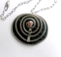 Zipper necklace - spiral shell - unique design - metal chain -YKK Zipper, 53 cm / 21.2 inches - eco friendly,recycled jewelry. $36.00, via Etsy.