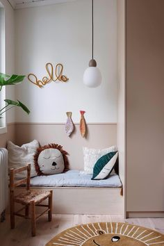 Cute kids bedroom with built-in wardrobe and little seat with Ferm Living accessories Girl Room, Girls Bedroom, Bedroom Decor, Cool Kids Bedrooms, Minimalist Kids, Parents Room, Built In Wardrobe, Kids Room Design, Baby Kind
