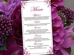 Diy Wedding Menu Template Instant Download  Printable Menu Diana