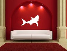 Vinyl Decal Shark Silhouette Style B Vinyl Wall Decal 22321