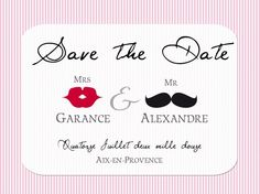 Save the date - rayures rose & blanc
