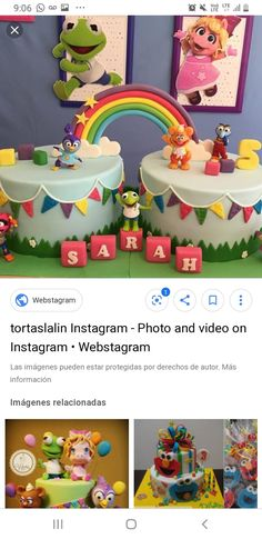 Princess Theme Birthday, Baby Birthday Cakes, Birthday Stuff, 4th Birthday, 1st Year Cake, Twins 1st Birthdays, Sesame Street Party, Muppet Babies, Baby Party