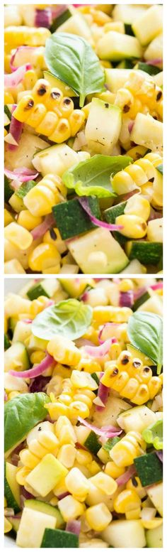 Roasted Corn Zucchini Salad ~ An easy but so flavorful vegetable side dish made with fresh corn, zucchini, and onions.