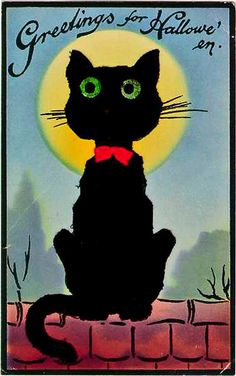 vintage Halloween postcard with black cat