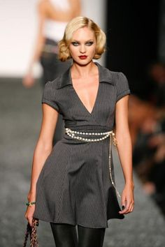 Women's fashion- gray, pin stripe dress, belt.