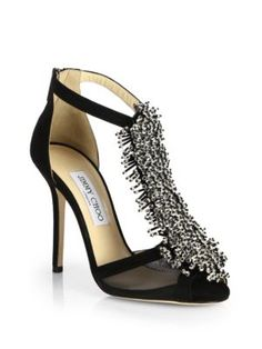 Jimmy Choo - Fortune Suede Beaded T-Strap Sandals