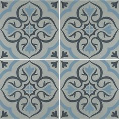 Knightshayes Dark Blue & Light Blue on Grey Tile