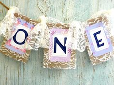 1ST Birthday Garland ONE Burlap Banner with Lace Bows Cake Smash
