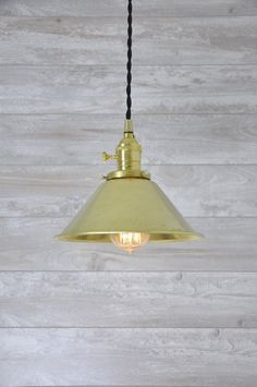 Unfinished Brass Cone Shade Industrial Pendant Light by wiresNjars