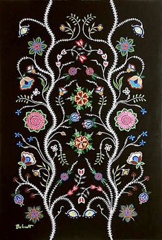 Christi Belcourt Showcase n. Classic Métis styling, needle and bead work. Indian Beadwork, Native Beadwork, Native American Beadwork, Native American Art, Silk Ribbon Embroidery, Embroidery Patterns, Embroidery Stitches, Beadwork Designs, Nativity Crafts