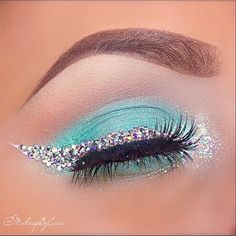 Tiffany & Co. Inspired Eyeshadow With Shimmery Rhinestone Eyeliner. #makeupbycari