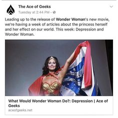 We bring #WonderWomanWeek to a close as today is officially #WonderWomanDay. To celebrate I'll be posting all of my @AceOfGeeks articles from this week. Here's the first from Tuesday... LINK: http://ift.tt/2qNFKbd  #WonderWoman #Classic #saturday #sexy #DCComics #ComicBooks #GalGadot #Equality #Love #SuperHeroes #LyndaCarter #action #passion #women #LGBT #OldSchool #imwithher #JusticeLeague #film #comics #Power #Action #wisdom #feminism #truth #WithWonderWoman #submission #NerdAlert  CONNECT…