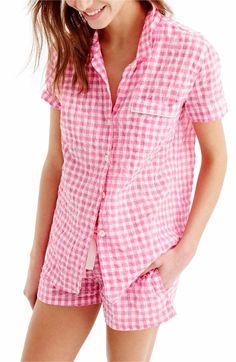 Main Image - J.Crew Gingham Pajama Set