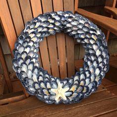 Blue Mussel Shell Wreath - Coastal Decor - Seashell Wreaths - Beach Decor - Nautical Decor - Coastal Wall Art - Ocean Decor - Seashell Decor by CoastalCornucopia on Etsy https://www.etsy.com/listing/507169525/blue-mussel-shell-wreath-coastal-decor