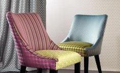 Romo fabric available at Marsh & Co. can turn an Romo fabric into beautiful made to measure curtains, blinds and cushions, also Marsh & Co. can order any Romo Wallpaper you want and have them delivered direct to your door. Upholstery Fabric For Chairs, Fabric Dining Chairs, Chair Fabric, Upholstered Dining Chairs, Wingback Chairs, Chair Design, Furniture Design, Eco Deco, Vintage Rocking Chair