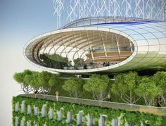 Vincent Callebaut designed the Botanic Center Bloom, a solar and wind-powered building covered in a lush green envelope.