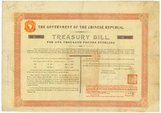Government of the Chinese Republic (Marconi, Kuhlmann 432), Beijing, 27 August 1918, 8 % Treasury Bill (Marconi) of £ 1,000. #2045, 27 x 38.5 cm, orange, yellow, black, rest of coupons, folds, tears and folds repaired, text in English (one side) and Chinese (other side), only 200 certificates issued, very rare nominal value!