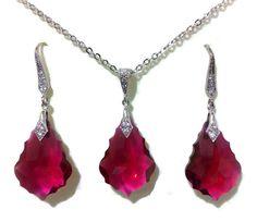 Fuschia Bridal Jewelry Siam Red Swarovski Crystal by YJCouture