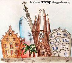 Dibujo de Barcelona con acuarelas: http://lavidaenscrap.blogspot.com.es/2014/09/no-todo-es-scrap-o-si.html