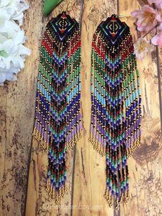 """Extra Long Beaded Fringe Earrings, """" Goddess"""" Seed Beaded Earrings, Fractal Beaded Earrings, Fringe earrings, Boho Style, Statement Earrings"""