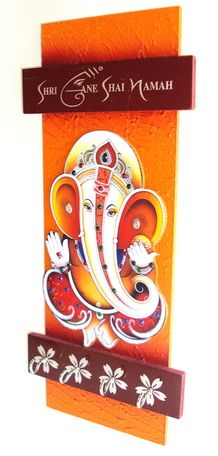 This is a handcrafted wooden art which has Lord Shree Ganesh photo on it. It is an beautiful Key Holder Art.