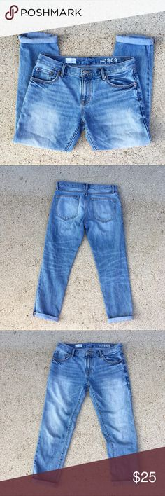 "Gap Sexy Boyfriend Light Wash Jeans Gap Sexy Boyfriend Light Wash Jeans. Approximate measurements: inseam: 27.5"", Waist (laying flat): 16.5-17"", rise: 9"". GAP Jeans Boyfriend"