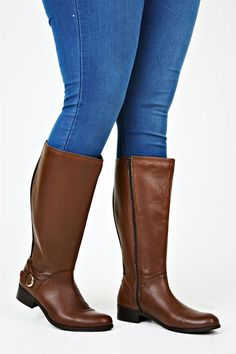 Brown Leather Knee High Riding Boots With Buckle Trim & XL Calf Fitting Knee High Boots, Over The Knee Boots, Wide Width Shoes, Leather Riding Boots, Sleeveless Tunic, Hot Shoes, Plus Size Outfits, Plus Size Fashion, Calves