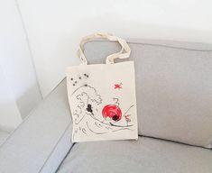 Studio Ghibli hand painted bags series / Miyazaki characters bag / Japan illustration tote bag / Great Wave bag