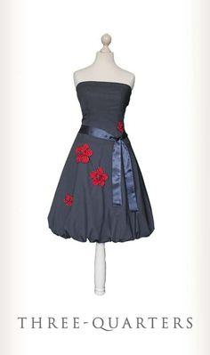 MISS BAY - Vestito grigio, antracite, grigio scuro, fiori, rosso, bianco, con punti, punti, damigella d'onore, matrimoni, abito estivo