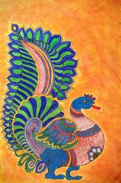 Kalamkari is ancient temple art of South India. it is famous for the motifs painted with pen and natural vegetable dyes. Madhubani Paintings Peacock, Kalamkari Painting, Madhubani Art, Indian Art Paintings, Peacock Drawing, Peacock Painting, Fabric Painting, Gond Painting, Kerala Mural Painting