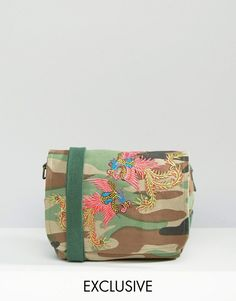 Reclaimed Vintage | Reclaimed Vintage Camo Cross Body Bag with Dragon Patches