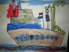 Stoomboot tekenen met stiften, wasco en ecoline