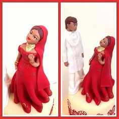 Bride and bridegroom indian cake toppers 2 by Naazneen