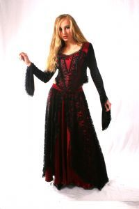 Gothic Velvet, Satin & Lace Top~Long Sleeved Top with Laced Detail~By Bares/Fashion X~80-1293~