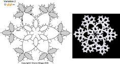 Sharon's Tatted Lace: Snowflake 2 - Free pattern diagram #tatting #snowflake