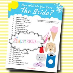 Who Knows the Bride Best Bridal Shower Game by thepartystork, $5.99