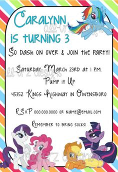 My Little Pony Friendship is Magic Personalized Invitations 5x7 inches Printable on Etsy, $8.00